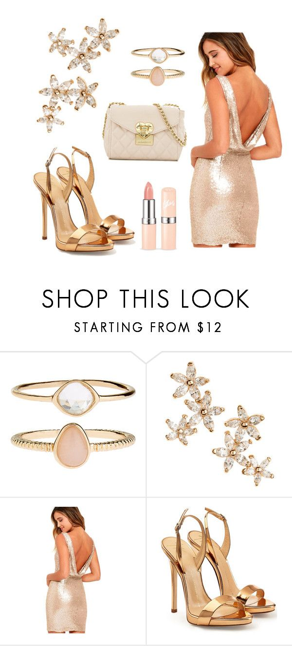 """""""Gold 🌟🌟🌟"""" by sookton ❤ liked on Polyvore featuring Accessorize, Bonheur, LULUS, Giuseppe Zanotti and Love Moschino"""