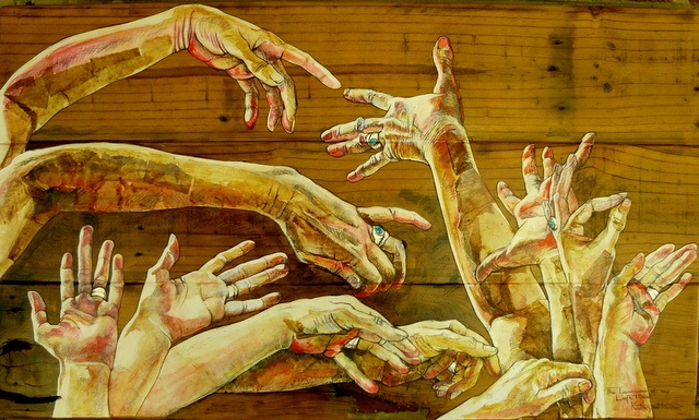 Artist: Kathryn Harmer Fox Title: Conversations with My Left Hand.  Medium: Mixed media. Pen, ink, coloured pencil on paper, used tea bags on reclaimed wood with acrylic glaze.