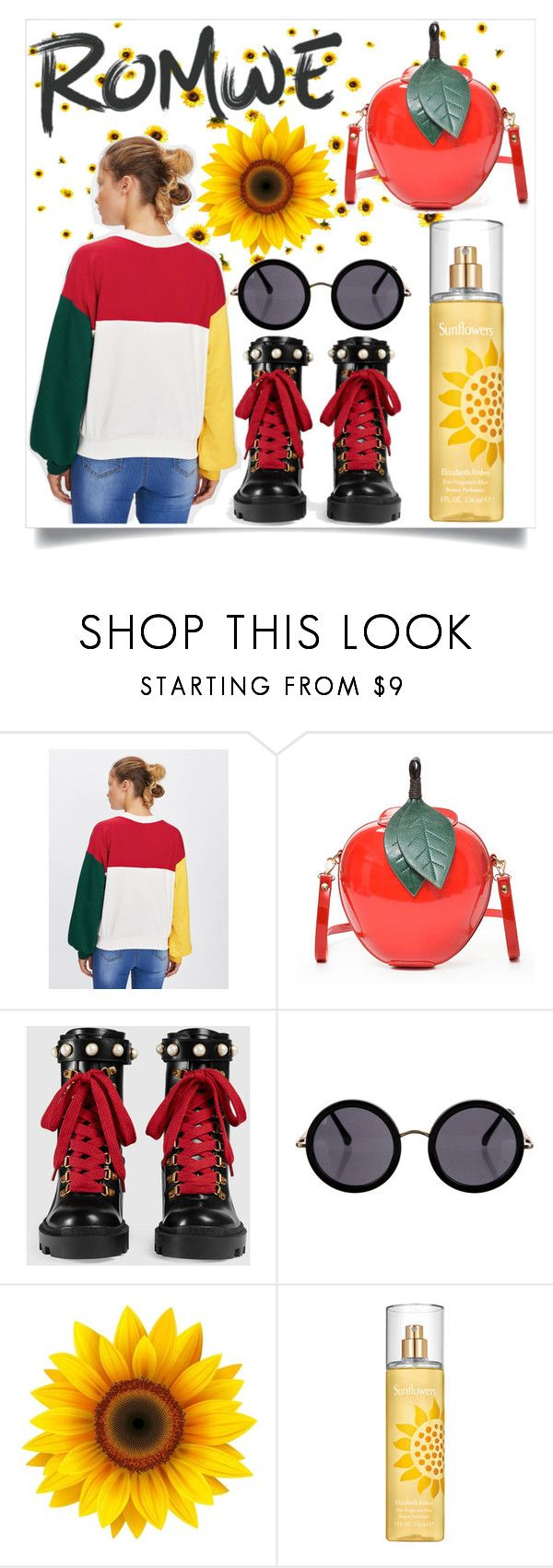 """Romwe: sunflower edition"" by sandolina77 ❤ liked on Polyvore featuring Gucci, The Row and Elizabeth Arden"