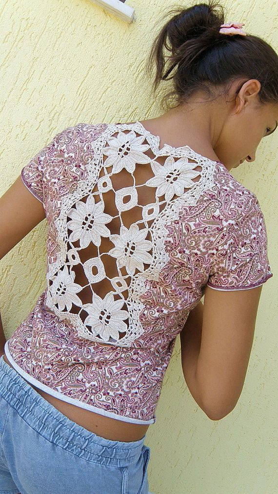 Lacy back womens shirt - Blouse - T shirt - UPCYCLED clothing - shabby chic - bohemian top - gypsy  shirt - eco clothing
