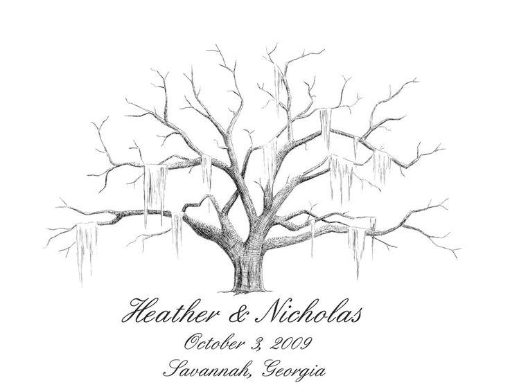 Savannah Live Oak Thumbprint Tree Wedding Guestbook Alternative MEDIUM. $90.00, via Etsy.