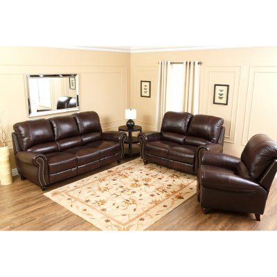 Abbyson Madison Leather Push Back Reclining Sofa Set Ch 8857 Brg 3
