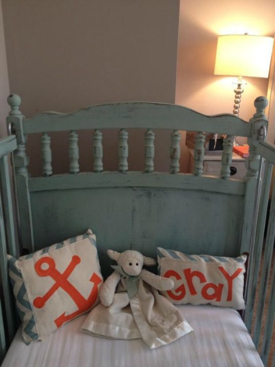 Creme De Menthe Maison Blanche Painted Crib With Orange Accents By Atta  Girl Says. Lakehouse