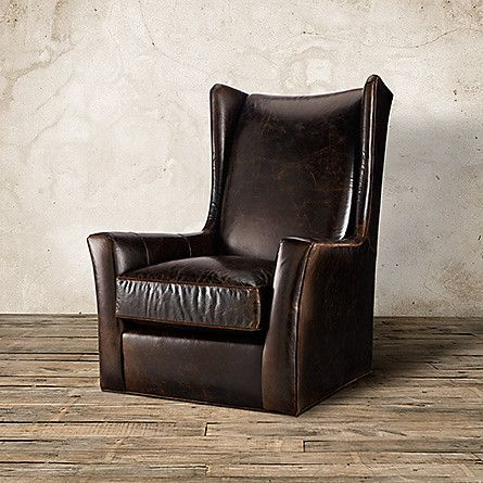 Halstead Leather Swivel Chair In Monte Cristo Cigar