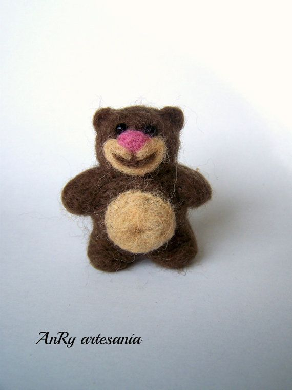 Needle felted pocketminiature teddy bearbrooch or pin by ArteAnRy, €10.00