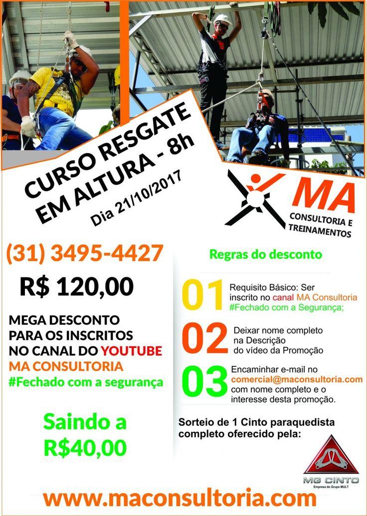 Curso Resgate em Altura - 8h - NR 35 em bh. Ganhe um curso de resgate em altura por R$ 40,00 na MA Consultoria em BH. Acesse aqui e saiba como.