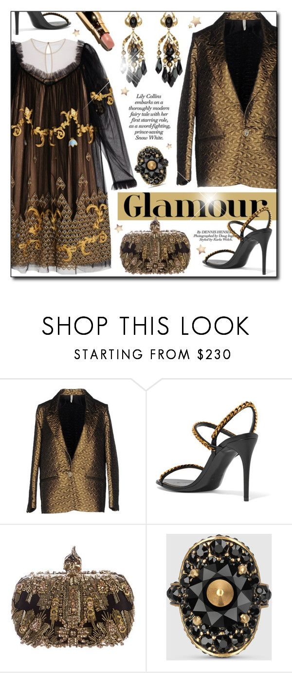 """Glam"" by cilita-d ❤ liked on Polyvore featuring Liis Japan, Tom Ford, Alexander McQueen, Gucci, Clutch, blazer, crystals, brocade and chiffondress"