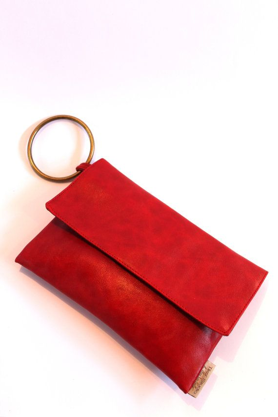 Red Vegan Leather clutch with attached bracelet by TikeStudio, $55.00