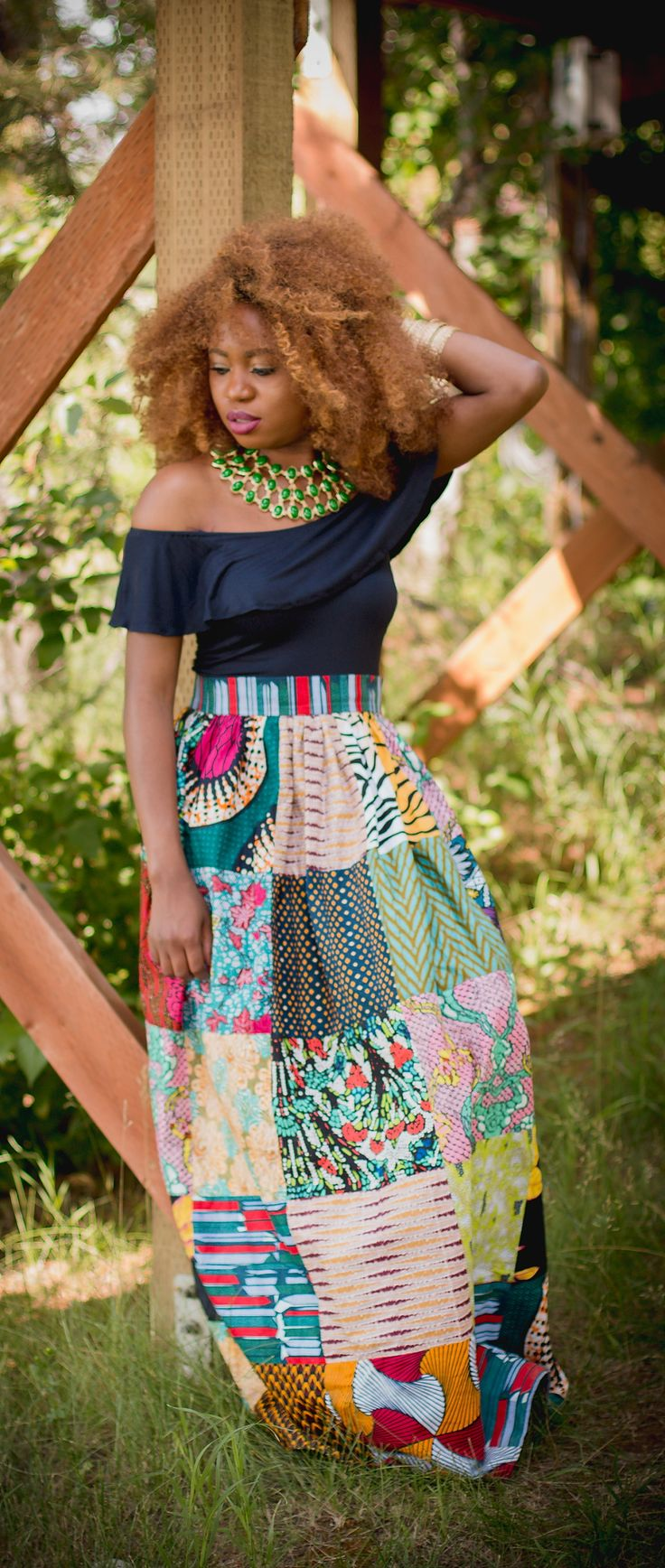 Girl gang African fashion - See how she styled this ankara African print patchwork midi skirt. She wore this colorful piece so well | Summer style, African styles, African prints