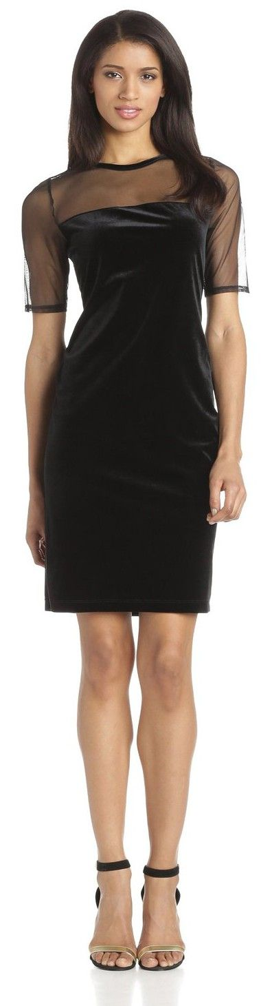 Tiana B Women's Solid Velvet Dress with Matte Mesh Jersey Combo.