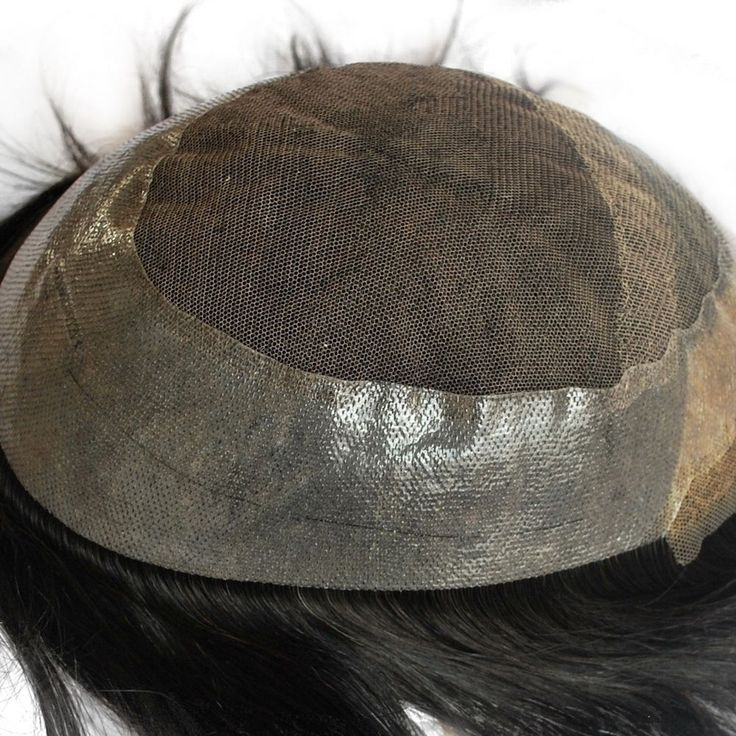 Stock Mens Toupee Natural Black Human Hair Piece for Men PU French Lace Tape  | eBay