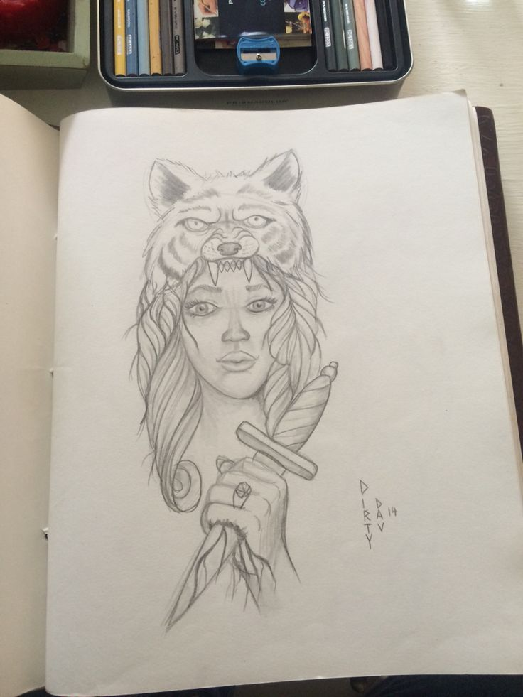 Lady and wolf tattoo design by Davin Evans.
