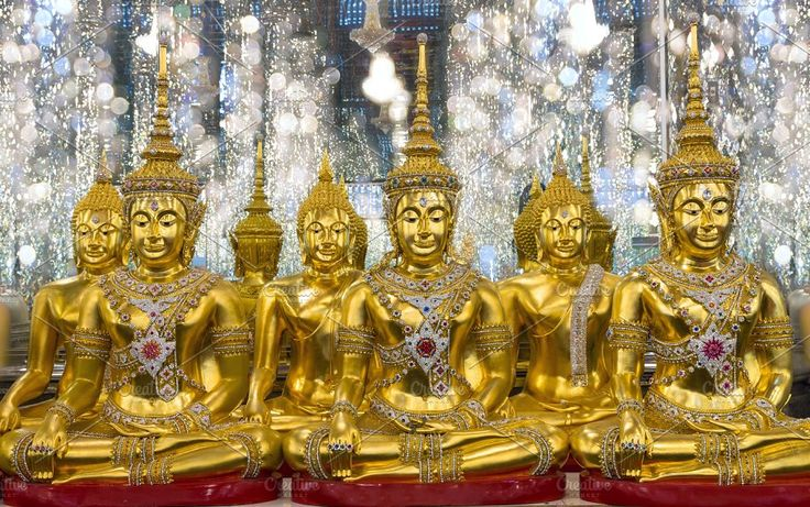 group of Golden Buddha statue by Tzido Gallery on @creativemarket  group of Golden Buddha statue in Cathedral glass, Thasung Temple, Thailand, public domain