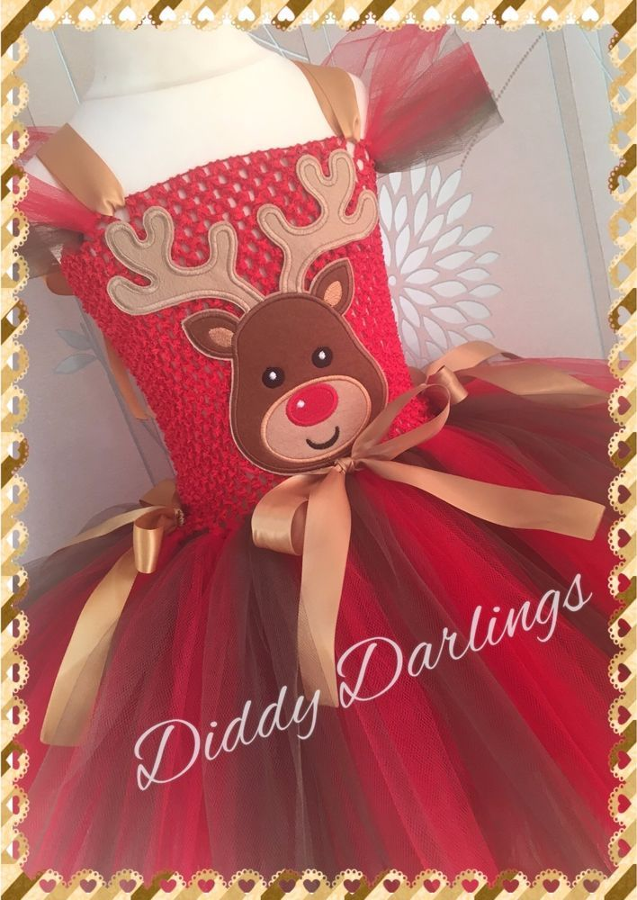 Rudolph The Red Nose Reindeer Tutu Dress Costume Fancy Photo Shoot Christmas Day #DiddyDarlings #CasualChristmasFormalParty