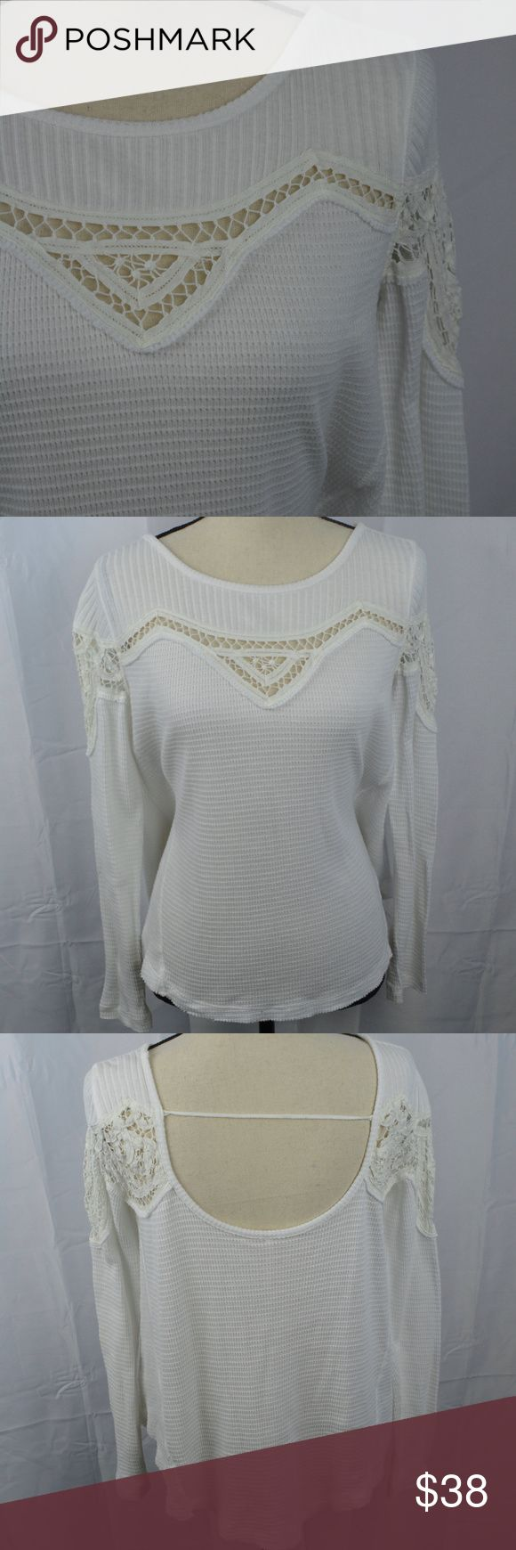 Free People Lace Waffle Weave Thermal Shirt Henley How beautiful! This thermal top by Free People is white with a white crochet lace detail on the shoulders and along the back. It is super soft and feels like a dream on. What a perfect way to add some bohemian vibes to your closet! ~Women's Size XS Feel free to ask questions! Free People Tops Tees - Long Sleeve