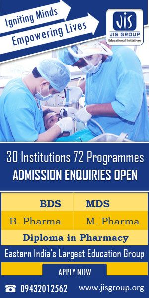 JIS Group has commenced admission enquiries for its healthcare (BDS, MDS, B.Pharma, M.Pharma  Diploma in Pharmacy) courses. For more info please visit at www dot jisgroup dot org