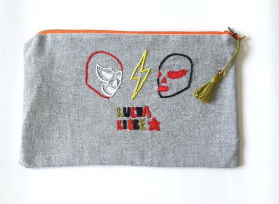 Embroidered  zipper pouch Lucha libre by LatelierdEloiseS on Etsy