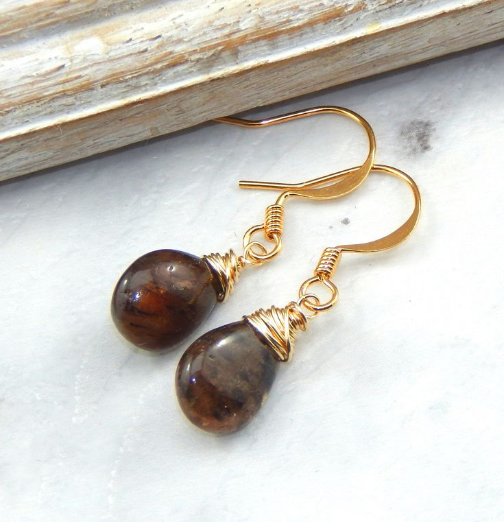 Andalucite Earrings,Wire Wrapped,Gold Filled,Bridesmaids Gift,Gemstone Earrings,Andaclucite Jewelry by Kikiburrabeads on Etsy