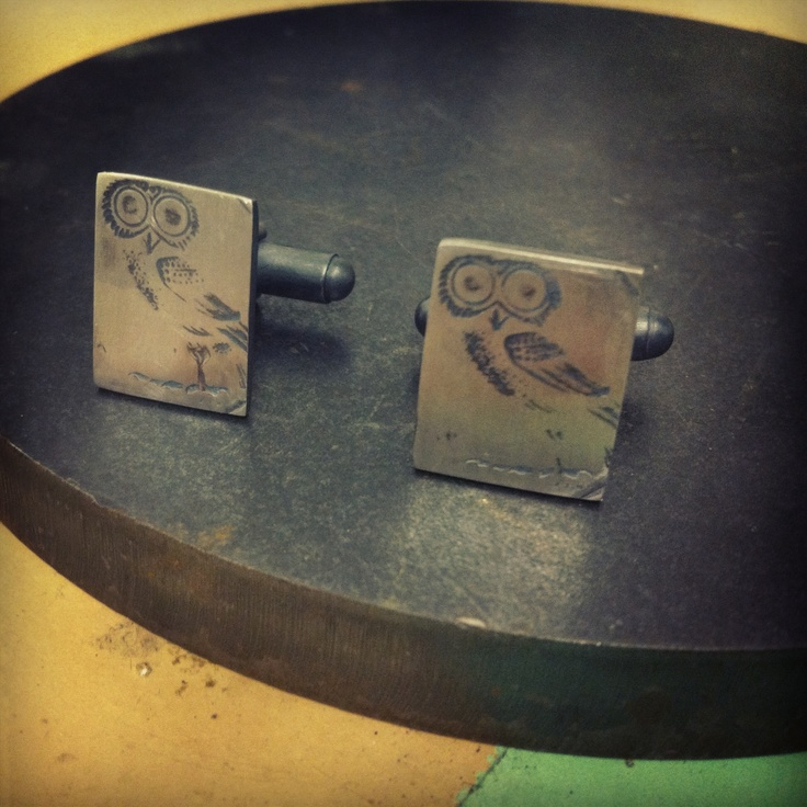 My first pair of cufflinks. Athena owl in oxidised sterling silver.