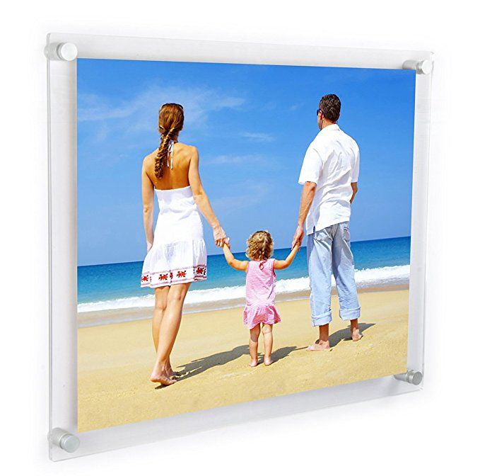 Niubee Clear Acrylic Wall Mount Floating Frameless Picture Frame Up To 18x24 Photo For Poster Floating Picture Frames Frameless Picture Frames Floating Photos