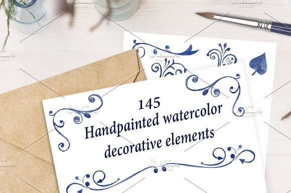Watercolor decorative elements by Nicolai-works on @creativemarket