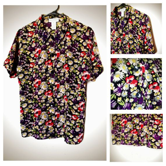 Floral print retro vintage button up blouse, short sleeves ...