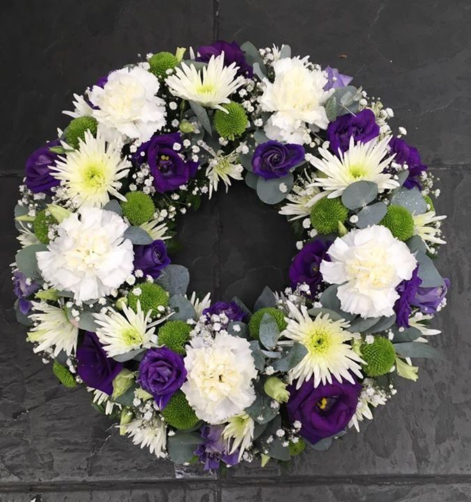 Purple And White Wreath Funeral Flower Arrangements Funeral Flowers White Flower Arrangements
