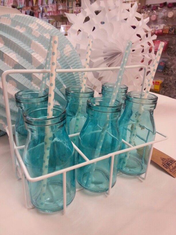 Turquoise bottles from Build a Birthday