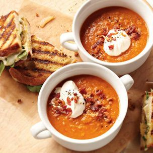 A healthy lentil soup with rich flavor, served with grilled cheese. Ultimate comfort food.