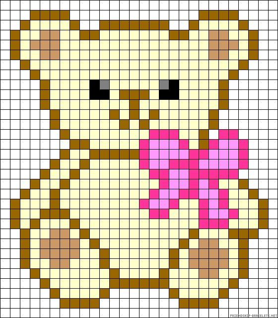 Teddy bow perler bead pattern [] # # #Alpha #Patterns, # #Bead #Patterns, # #Cross #Stitch #Patterns, # #C2c #Crochet, # #Friendship #Bracelets, # #Perler #Beads, # #Teddy #Bears, # #Stitches, # #Cross #Stitch