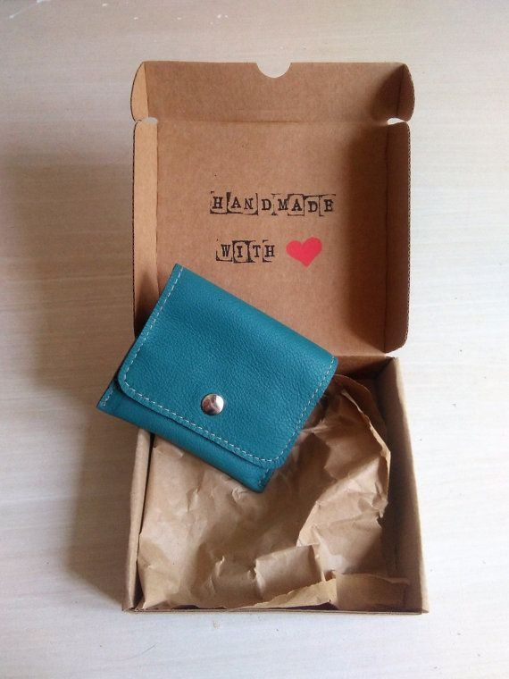 Small Wallet for Women Bluish Green, Handmade Leather Wallet for Women, Small Womens Wallet OOAK