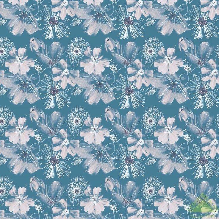 Ткань Граффити, 150 см, жаккард, цветы бирюзовые, белый, 1 пог. м, Ткани на отрез - Каталог Леруа Мерлен