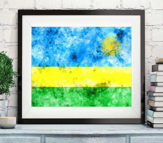 Rwanda Flag Art- https://www.etsy.com/listing/473823473/rwanda-flag-art-rwanda-flag-print-flag?ref=shop_home_active_4 -Rwanda Flag Print, Flag Poster, Watercolor Flag, African Art