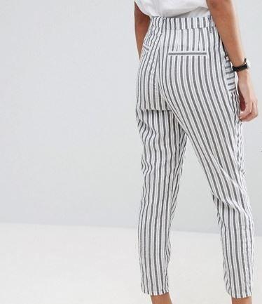 ASOS Striped Peg Trousers in Seersucker