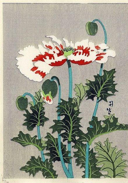 Poppies, by Benji Asada (1899-1984) wood block print