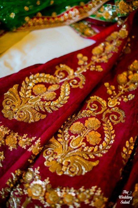 Bridal Details - Zari and Zardosi work on maroon lehenga | WedMeGood
