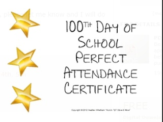 Is attendance an issue at your school? Then recognize students with PERFECT attendance on the 100th day! Let them know you appreciate them showing up each and every day! {certificate FREEBIE!}
