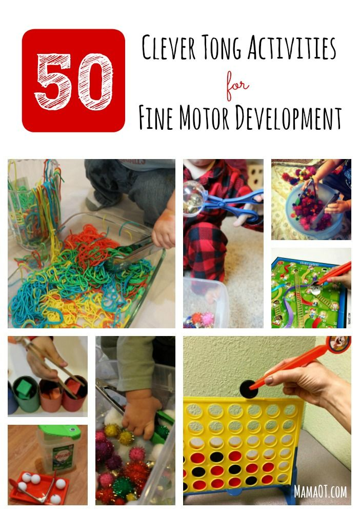 50 clever, effective ways to play with tongs to promote fine motor development! #OTtips #finemotor