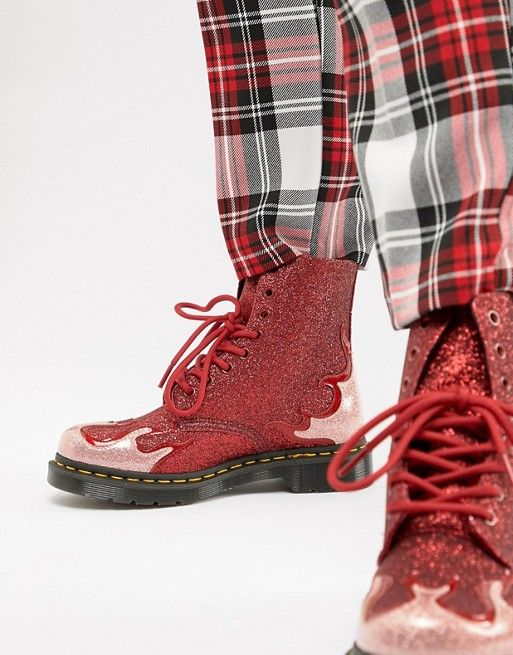 889e18b6bc8b3 Dr Martens 1460 Pascal Red Glitter Flame Flat Ankle Boots in 2019 ...