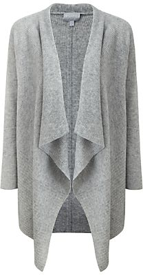 Pure Collection Regina Waterfall Cardigan, Heather Grey