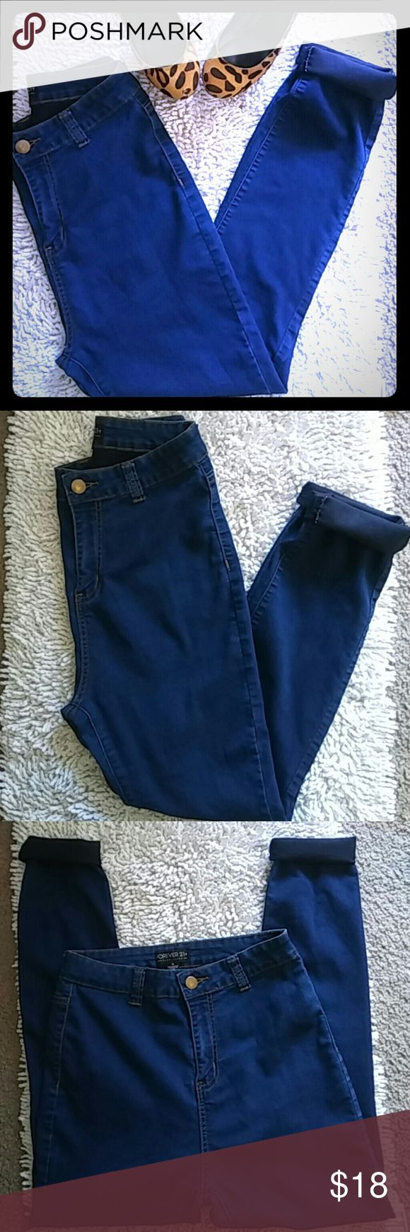 Plus forever 21 high waisted jeggins jeans Size 12 High waisted  Skinny jeans jeggins Dark denim Like new  Same day shipping Bundle discounts Forever 21 Jeans Skinny