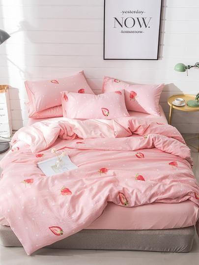 1e28b29e6e Strawberry & Polka Dot Print Sheet Set | Shein in 2019 | Bed sheets ...
