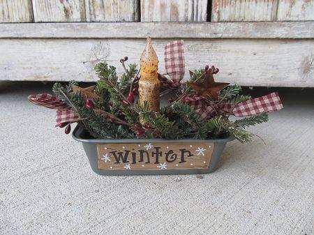 Primitive Winter Season Antique Mini Loaf Pan Timer Light