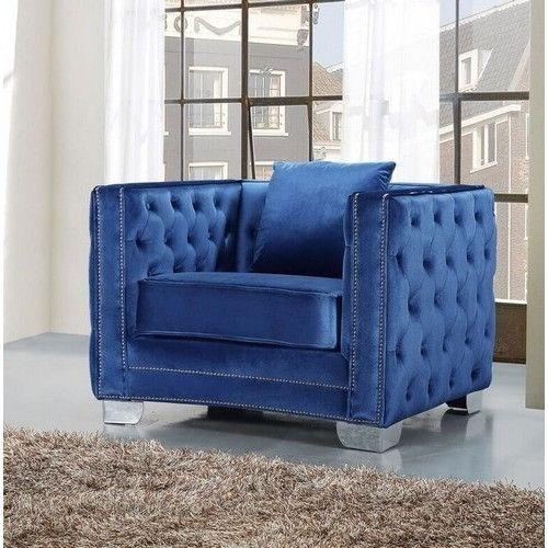 Reese Light Blue Velvet Chair