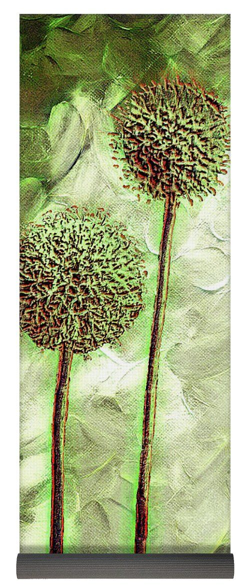 """Globe Thistles Yoga Mat by Leslie Montgomery.  This yoga mat is 24"""" x 72"""" in size and made from eco-friendly PVC.  It comes with black carrying bag and a 30-day money-back guarantee."""