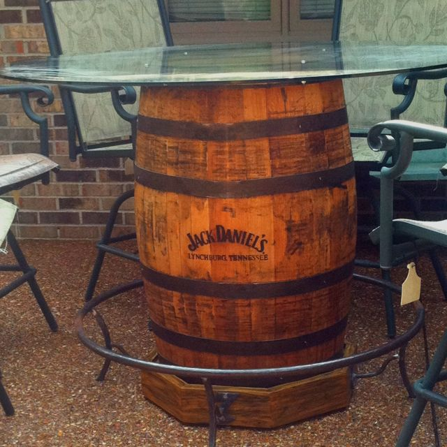 Jack Daniels Barrel Made Into Table. Thanks@Lesley Worsham