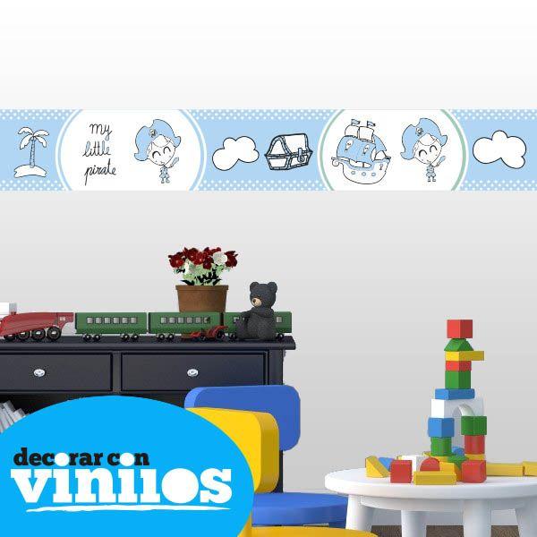 Cenefa Infantil -  Little Pirata Mira más cenefas infantiles en http://www.decorarconvinilos.com/vinilos-infantiles/cenefas-infantiles