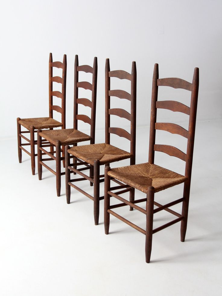 Awesome Antique Ladder Back Chairs With Rush Seat