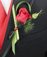 PUTTING ON THE RITZ RED Prom Boutonniere in Torrance, CA | THE PLANT GALLERY & FLORIST