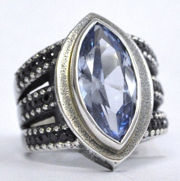 Handmade jewelry by Susan Roos - Blue stone marquise ring in sterling silver